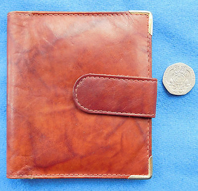 Vintage soft leather wallet mesh ID card holder cow hide genuine leather Red tan