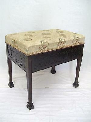 A Good Antique Chinese Chippendale Revival Piano Or Dressing Stool Seat