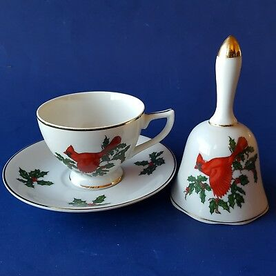 Vintage Lefton China 'Cardinal' Teacup & Saucer w/ Dinner Bell. Red Green Holly
