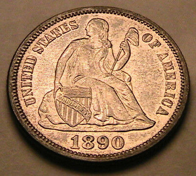 1890-P Ch AU+ Lustrous White Seated Liberty Dime Silver 10C Ten Cent US Coin