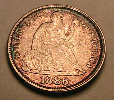 1886-P Ch AU Nice Album Toned Seated Liberty Dime Silver 10C Ten Cents USA Coin
