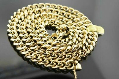 14K Yellow Gold Plated Hip Hop 11mm Cuban Link Chain Necklace with Box Lock