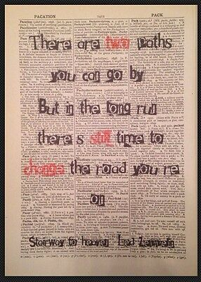 Stairway To Heaven Led Zeppelin Lyrics Print Dictionary Page Wall Art Picture