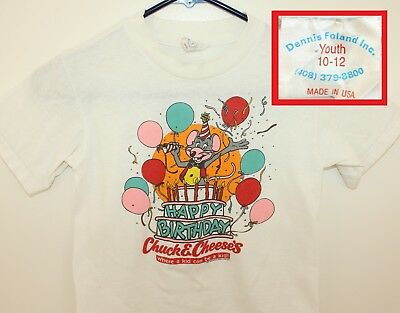 Chuck E. Cheese's vtg youth tee 10-12 white 80s 1987 kid's entertainment center