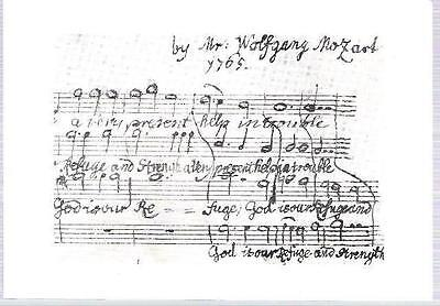 Music - Mozart Score 'God is Our Refuge' score - British Library postcard 1978