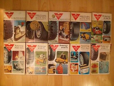 Lot of 10 Vintage Canadian Tire Catalogs 1970s mostly French