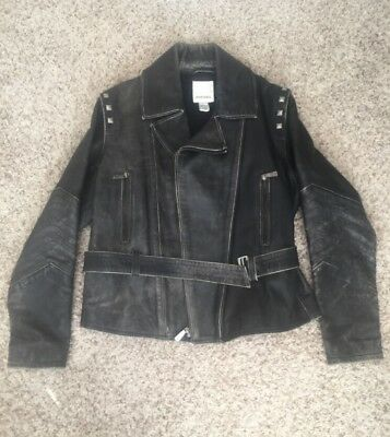 Diesel Men's Black Studded Distressed Leather Belted Motorcycle Jacket Size M