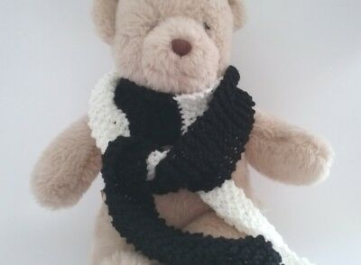 Teddy Bear Clothes, Handmade Black & White Hand Knitted Scarf