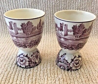 Pair of Antique Staffordshire Mulberry Transferware Egg Cups