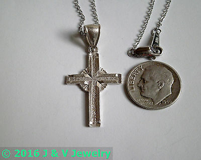 """Antique Vintage Sterling Silver 925 Diamond Etched Cross Pendant and 16"""" Chain"""