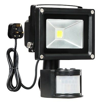 T-SUN Motion Sensor Flood light, 10W LED PIR Floodlights, Daylight White 6000K,