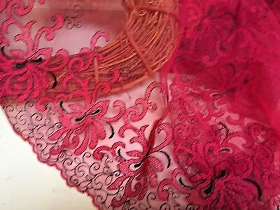 """11""""/28cm Exquisite Persian Red/Black Embroidered Tulle Lace Trim.Sewing/Crafts."""