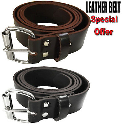 Mens Real Genuine Leather High Quality Stylish Jeans Trouser Casual Waist Belt