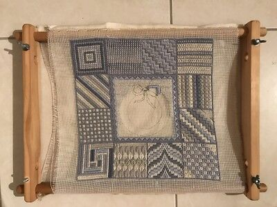 Vintage Unfinished Needlepoint Tapestry Needlework Craft Embroidery on Lap Frame