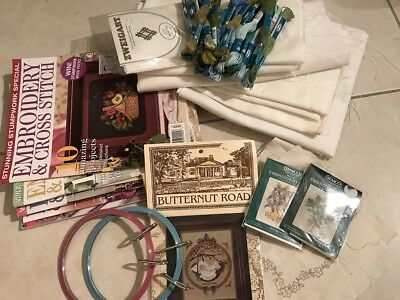 Clearance Bulk Lot of Embroidery Patterns Linen books, kits, threads