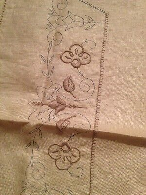 SEMCO Vintage Tablecloth Table Supper Cloth Transfer Embroidery Linen AS IS