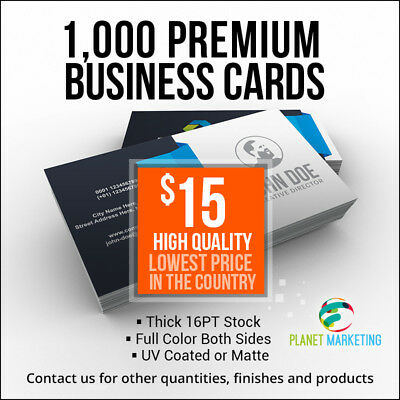 Lowest Price 1000 Business Cards Full Color 2 Side Printing UV Coated or Matte