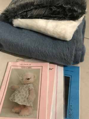 Mixed Lot Wool Mohair Fabric Teddy Bear Patterns Eyes Plush Toys Sewing Craft