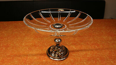 Original Franco Lapini Glas Obstschale Schale Fußschale Silver plated Italy Top