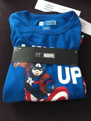 Gap Kids Captain America  PJ Sleepwear 2 Piece Set Short Sleeve Boys  8 NWT