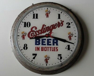 1938 Esslinger's Beer In Bottles Bubble Glass Clock Electric Sign Phila Pa