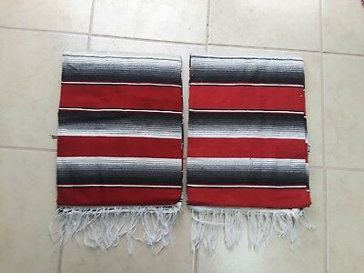 TWO PIECE SERAPE SET ,5' X 7',Mexican Blanket,HOT ROD, Covers, XXL ,RED & GRAY