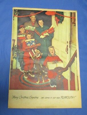 Original 1950 Plymouth Car Ad  Artist's Series Norman Rockwell MERRY CHRISTMAS