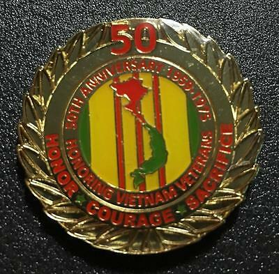 50th Vietnam War Anniversary Hat Pin Honoring Vietnam Veterans...NEW!
