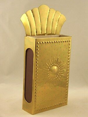 Vintage Swedish Punched Tin Brass Wall Match Box Tin Holder Sweden Gold Tone