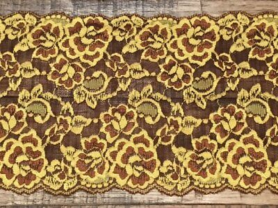 """laverslace Quality Brown Bronze and Gold Yellow Stretch Lace Trim 7""""/17.5cm"""