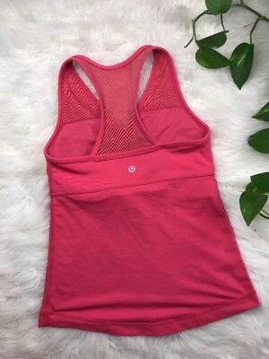 Women's Lululemon Athletica Deep Breath Racerback Tank Top Mesh 4 Coral