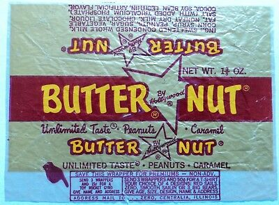 Vintage 40's 50's Hollywood Candy Bar Wrapper- Butter Nut - FREE SHIPPING!!!