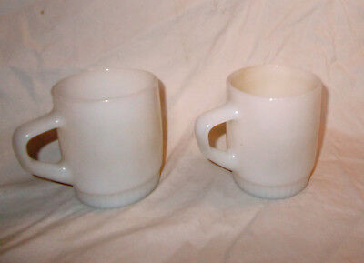 Pair Vintage Fireking Fire King White Stackable D Mugs