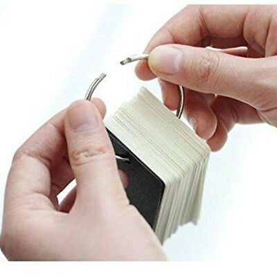 100 Pages Stationery Flash Cards Metal Binder Ring Study Cards Memo