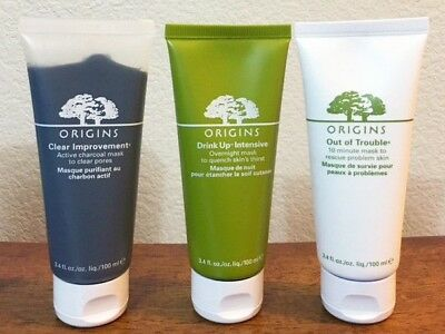 ORIGINS Mask Set CHOOSE ONE Charcoal / Drink up/ Out of trouble 10 minute 3.4 oz