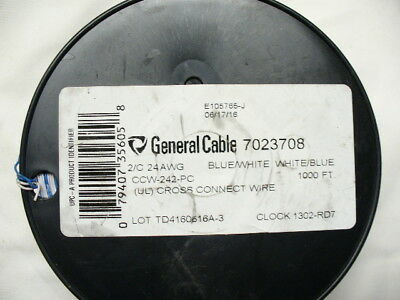 General Cable 7023708 CCW-242-PC Cross-Connect Wire, 2C 24AWG, 1000-Feet,NEW
