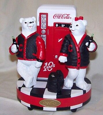 Coca Cola Varsity Polar Bears Vending Machine Music Box NIB