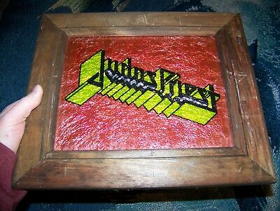 Vintage 1980s Framed JUDAS PRIEST 11X13 Carnival Mirror Foil Glass Wall Hanging