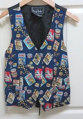 1995 Nicole Miller Cat Food Print Vest S 100% Silk Limited Edition