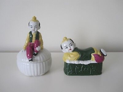 Vintage Asian Porcelain Trinket Dishes/Boxes -Peking East by Mann Chinese