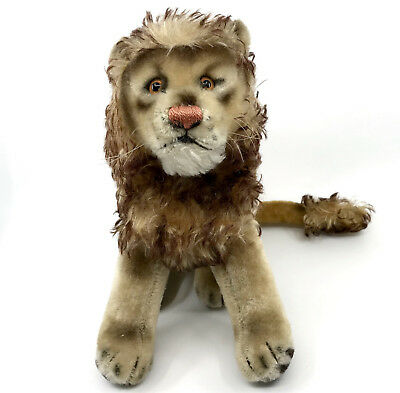 Steiff Leo Lion sitting Mohair Plush 22cm 9in Tawny Tipped 1960s Vintage no ID