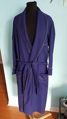 Vintage Mens Wool Housecoat Small Jack Fraser Robe Dressing Gown Navy Blue