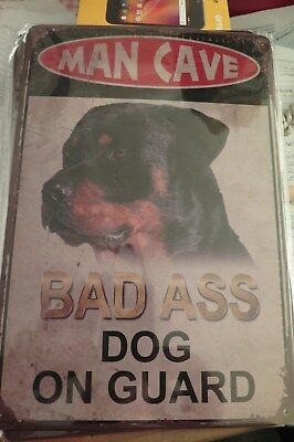 BAD ASS DOG ON GUARD  tin metal sign MAN CAVE brand new 20 by 30 cm