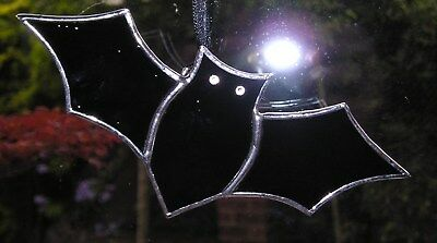 Stained Glass Black Bat, Halloween, Suncatcher Hand Made in England