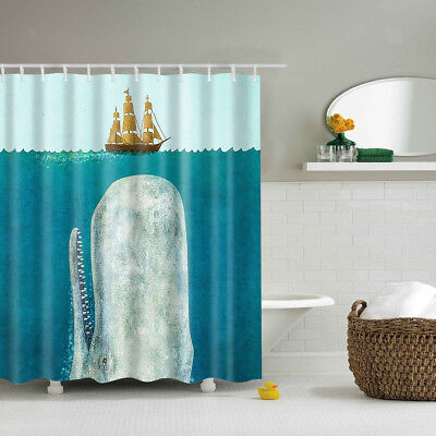 Polyester Fabric Bathroom Shower Curtain Sheer Panel Decor & 12 Hooks -Whale