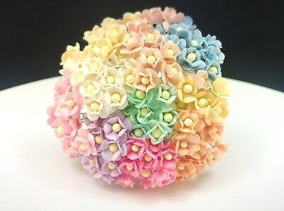 50 Tiny Mixed Pastel color double layers paper daisies mulberry paper flowers