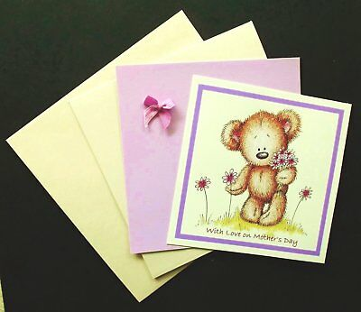 DELIGHTFUL MOTHER'S DAY CARD PACK x 1 WITH LARGE SHIMMER CREAM CARD 146mm