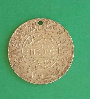 Morocco AH 1309 (1891) -  2 1/2 Dirham Silver - Moulay Al-Hassan ( Holed )
