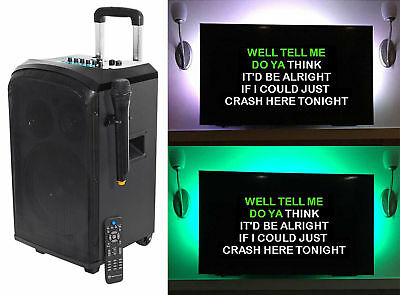 "Rockville 10"" Portable Bluetooth Karaoke Machine/System w/Wireless Mic+LED Strip"