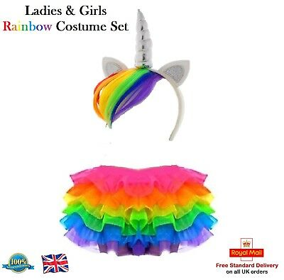 Ladies & Girls RAINBOW TUTU COSTUME Unicorn My Little Pony Dash Fancy Dress UK